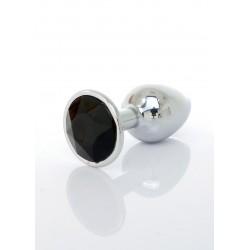 Metalowy korek analny z diamentem czarny